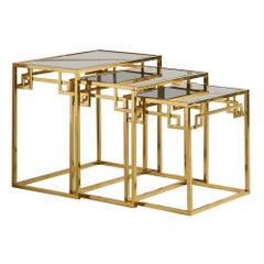 Brass and Rose Gold Italian Mirrored Glass Nesting Tables