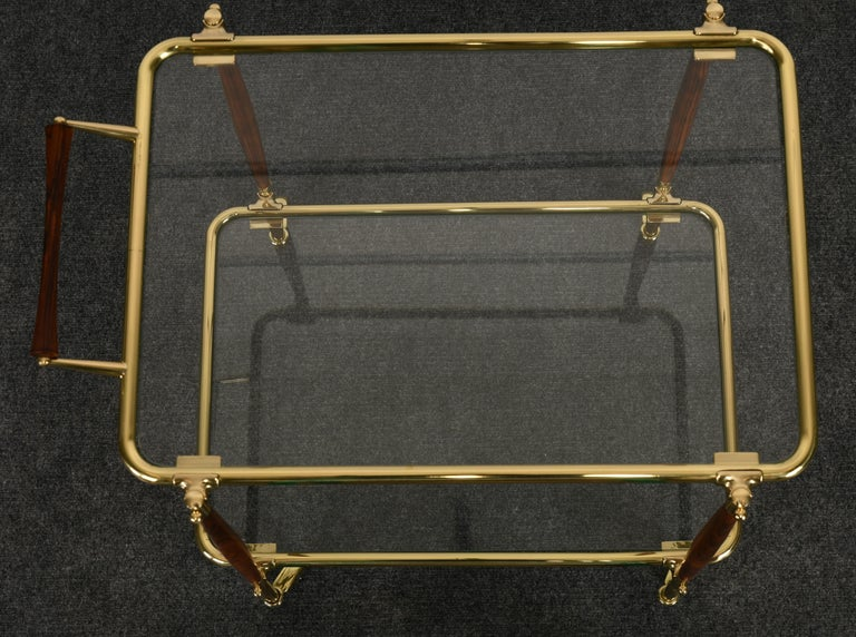 Brass and Rosewood Bar Cart in the manner of Cesare Lacca, 1960s For Sale 4