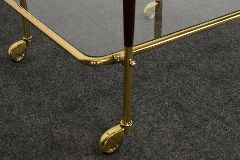 Brass and Rosewood Bar Cart in the manner of Cesare Lacca, 1960s For Sale 5