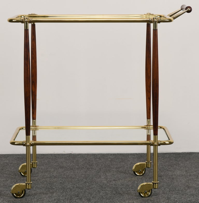 Mid-Century Modern Brass and Rosewood Bar Cart in the manner of Cesare Lacca, 1960s For Sale