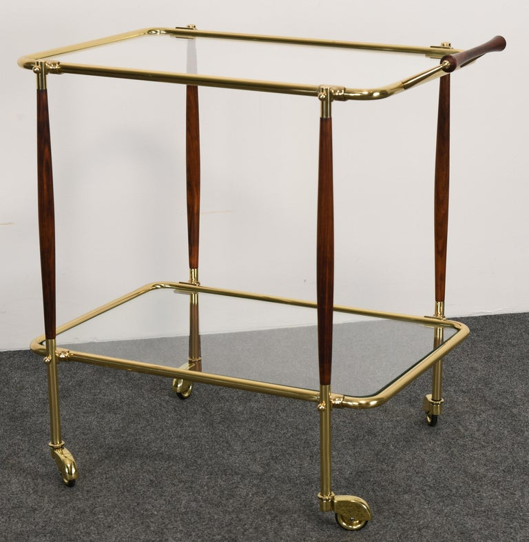 Brass and Rosewood Bar Cart in the manner of Cesare Lacca, 1960s In Good Condition For Sale In Hamburg, PA