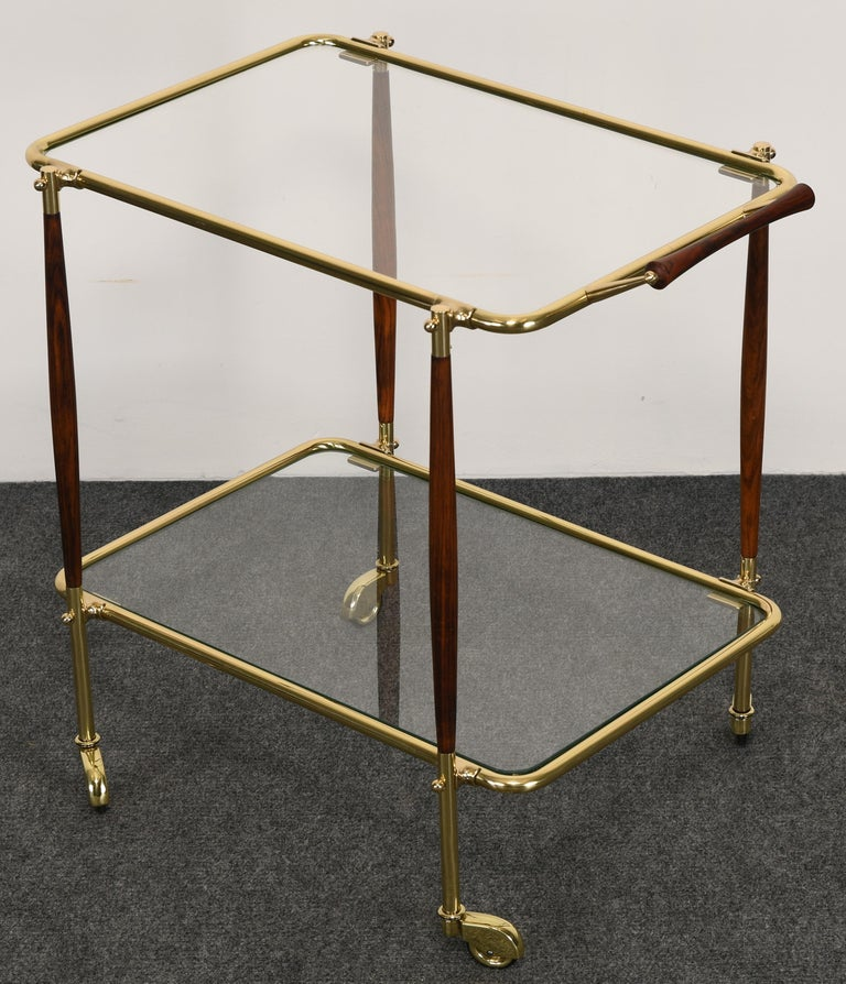 Mid-20th Century Brass and Rosewood Bar Cart in the manner of Cesare Lacca, 1960s For Sale