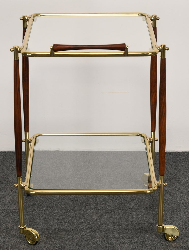 Brass and Rosewood Bar Cart in the manner of Cesare Lacca, 1960s For Sale 1