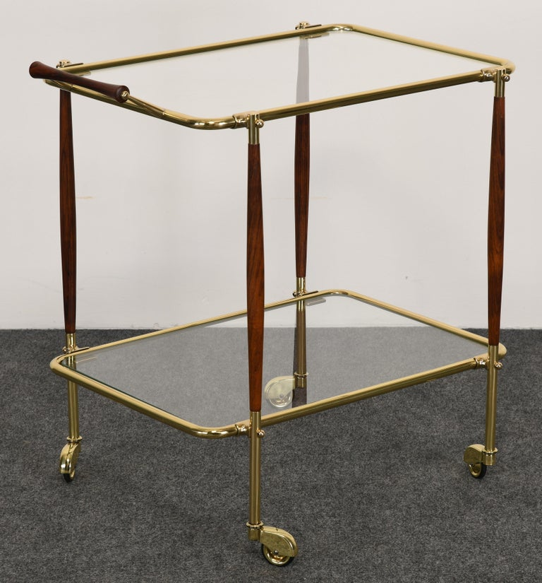 Brass and Rosewood Bar Cart in the manner of Cesare Lacca, 1960s For Sale 2