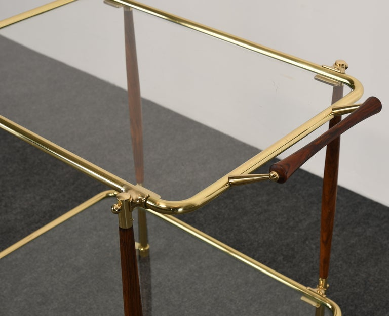 Brass and Rosewood Bar Cart in the manner of Cesare Lacca, 1960s For Sale 3