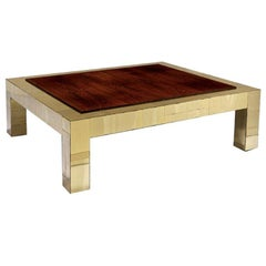 Brass and rosewood cityscape coffee table Paul Evans