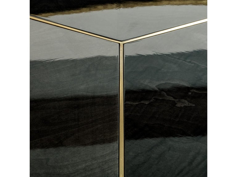 Art Deco Brass and Sikomoro Round Dining Table For Sale