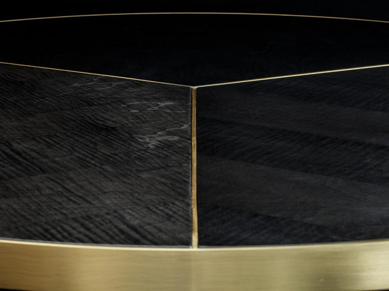 Portuguese Brass and Sikomoro Round Dining Table For Sale
