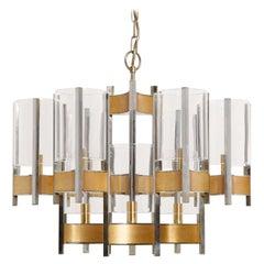Brass and Silver Chandelier by Gaetano Sciolari, 1970s