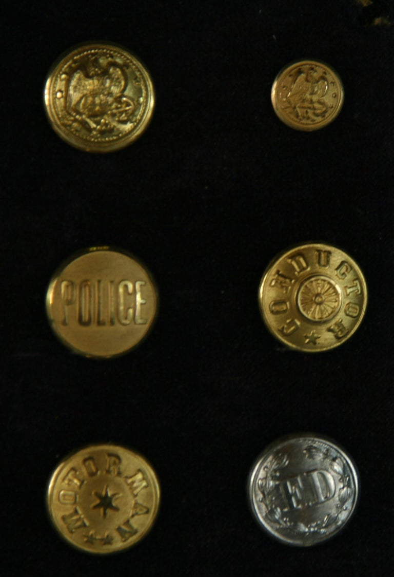 Brass and Silver Vintage Button Collection in Custom Wood Case For Sale 6
