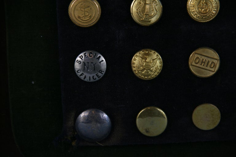 Brass and Silver Vintage Button Collection in Custom Wood Case For Sale 7