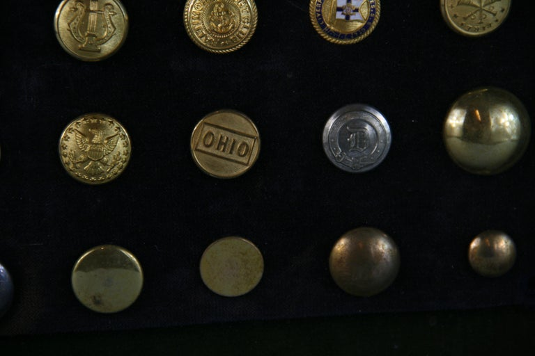 Brass and Silver Vintage Button Collection in Custom Wood Case For Sale 8