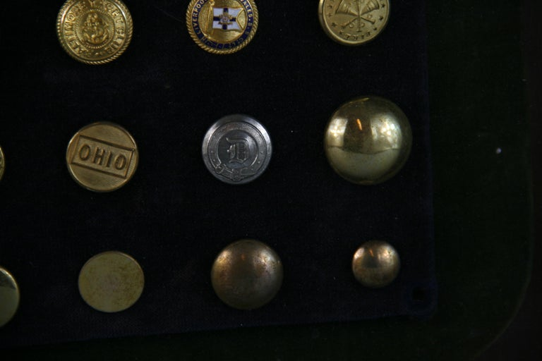 Brass and Silver Vintage Button Collection in Custom Wood Case For Sale 9