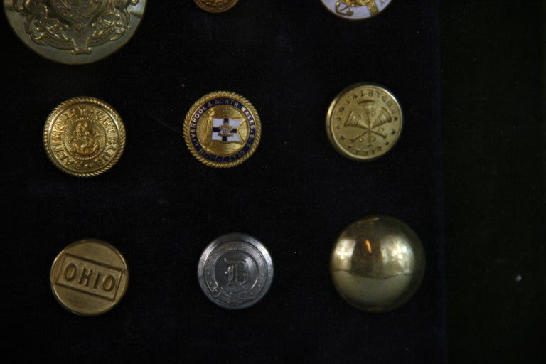 Brass and Silver Vintage Button Collection in Custom Wood Case For Sale 10