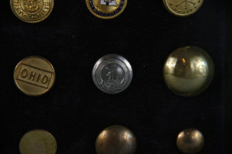 Brass and Silver Vintage Button Collection in Custom Wood Case For Sale 11