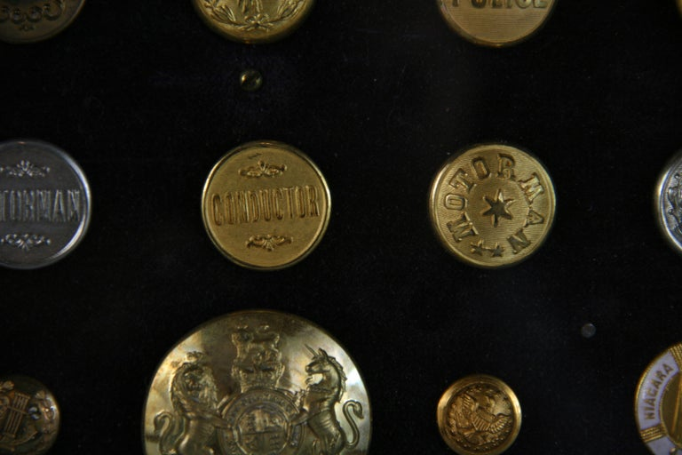 Brass and Silver Vintage Button Collection in Custom Wood Case For Sale 15