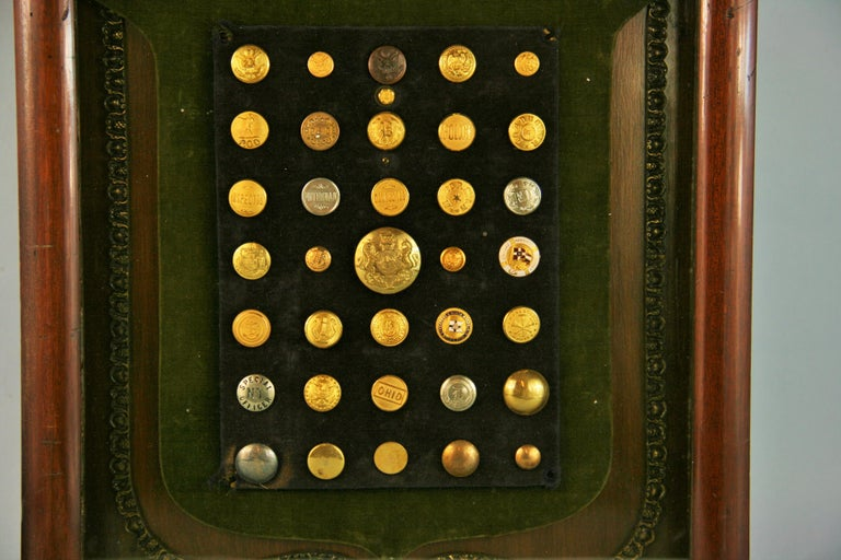 Brass and Silver Vintage Button Collection in Custom Wood Case In Good Condition For Sale In Douglas Manor, NY