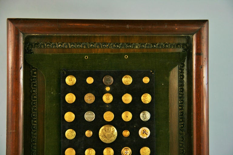 Mid-20th Century Brass and Silver Vintage Button Collection in Custom Wood Case For Sale