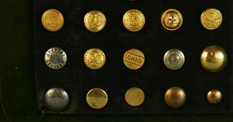 Brass and Silver Vintage Button Collection in Custom Wood Case For Sale 1