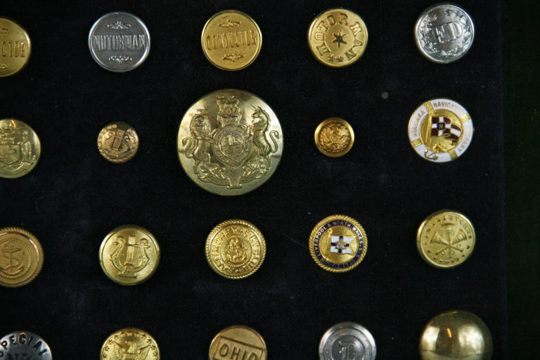 Brass and Silver Vintage Button Collection in Custom Wood Case For Sale 2