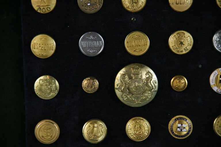 Brass and Silver Vintage Button Collection in Custom Wood Case For Sale 3