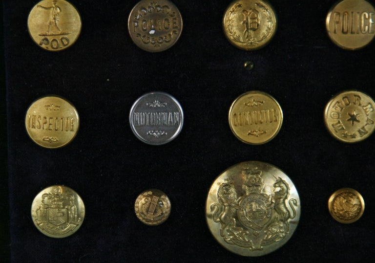 Brass and Silver Vintage Button Collection in Custom Wood Case For Sale 4
