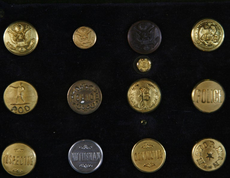 Brass and Silver Vintage Button Collection in Custom Wood Case For Sale 5