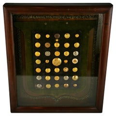 Brass and Silver Vintage Button Collection in Custom Wood Case