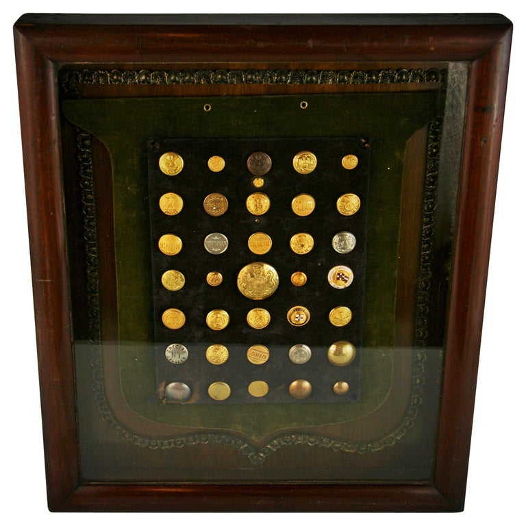 Brass and Silver Vintage Button Collection in Custom Wood Case For Sale