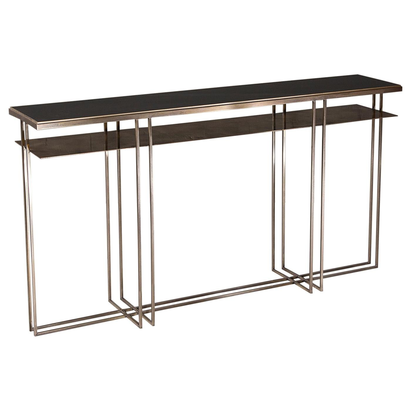Brass and Slate Handcrafted Console Signed by Novocastrian