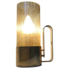 Brass and Smoke Glass Table or Wall Lamp by Nya Oia, Sweden, 1970s