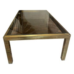 Brass and Smoked Glass Coffee Table Attributed to Willy Rizzo for Maison Charles