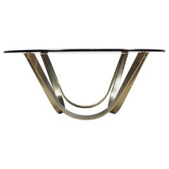 Brass and Smoked Glass Coffee Table by Roger Sprunger for Dunbar, circa, 1971