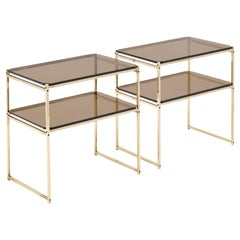 Brass and Smoked Glass Console Tables