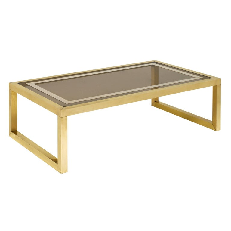 Brass and Smoked Glass Midcentury Coffee Table