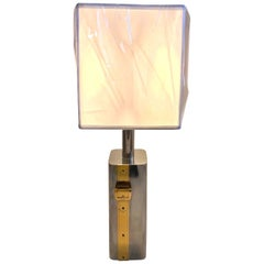 Brass and Steel Belt Buckle Style Italian Table Lamp