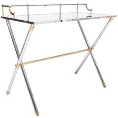 Brass and Steel Desk 1970s by Maison Jansen