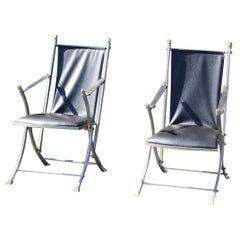 Brass and Steel Mid-Century Modern Maison Jansen Campaign Folding Chairs
