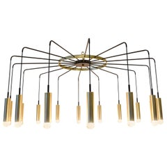 Brass and Steel Modern Spider Chandelier