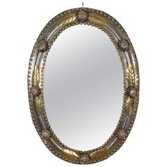 Brass and Steel Oval Mirror