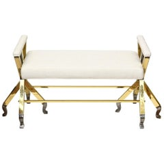 Brass and Steel Upholstered 3-Legged Bench Mid-Century Modern