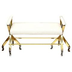 Brass and Steel Upholstered 3-Legged Bench Mid-Century Modern