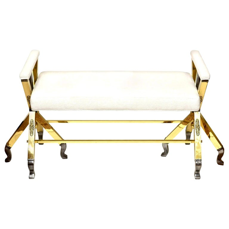 Brass and Steel Upholstered 3-Legged Bench Mid-Century Modern For Sale