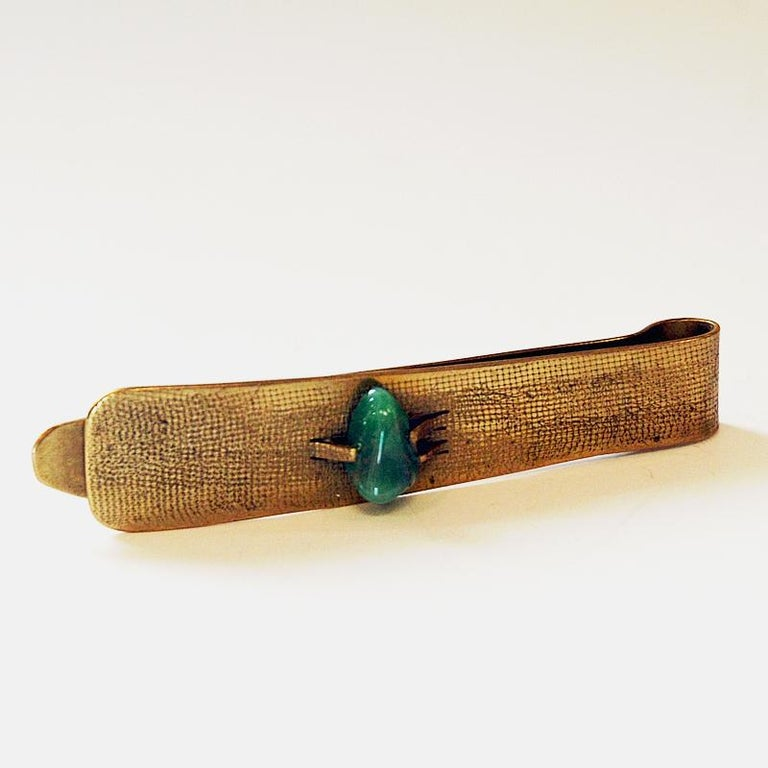 Scandinavian Modern Brass and Stone Midcentury Tie Pin in the Style of Anna Greta Eker, Norway 1960s For Sale