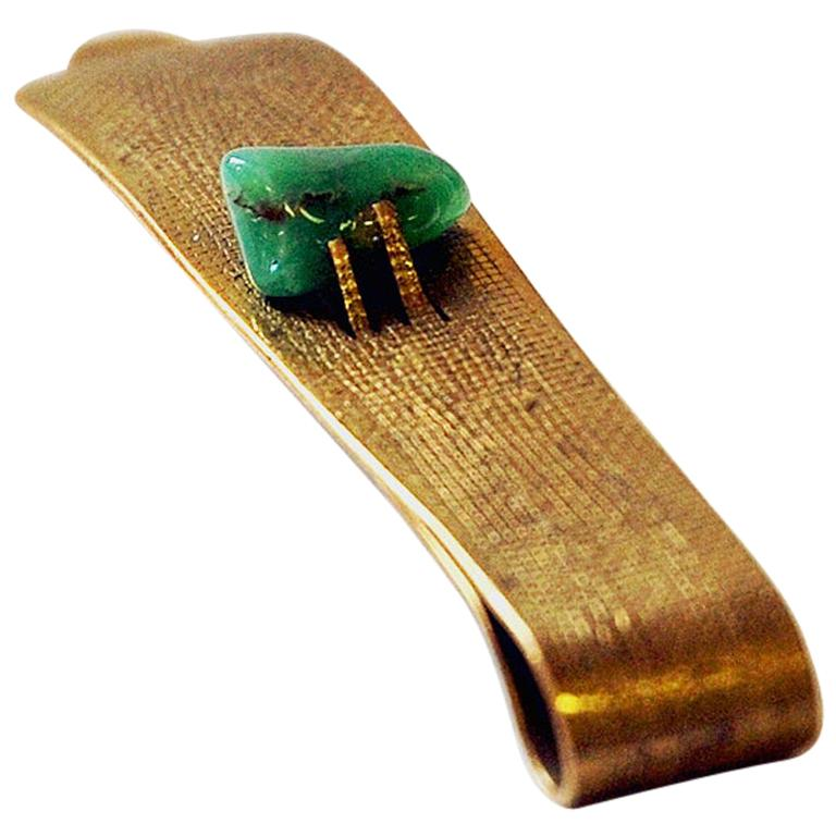 Brass and Stone Midcentury Tie Pin in the Style of Anna Greta Eker, Norway 1960s For Sale