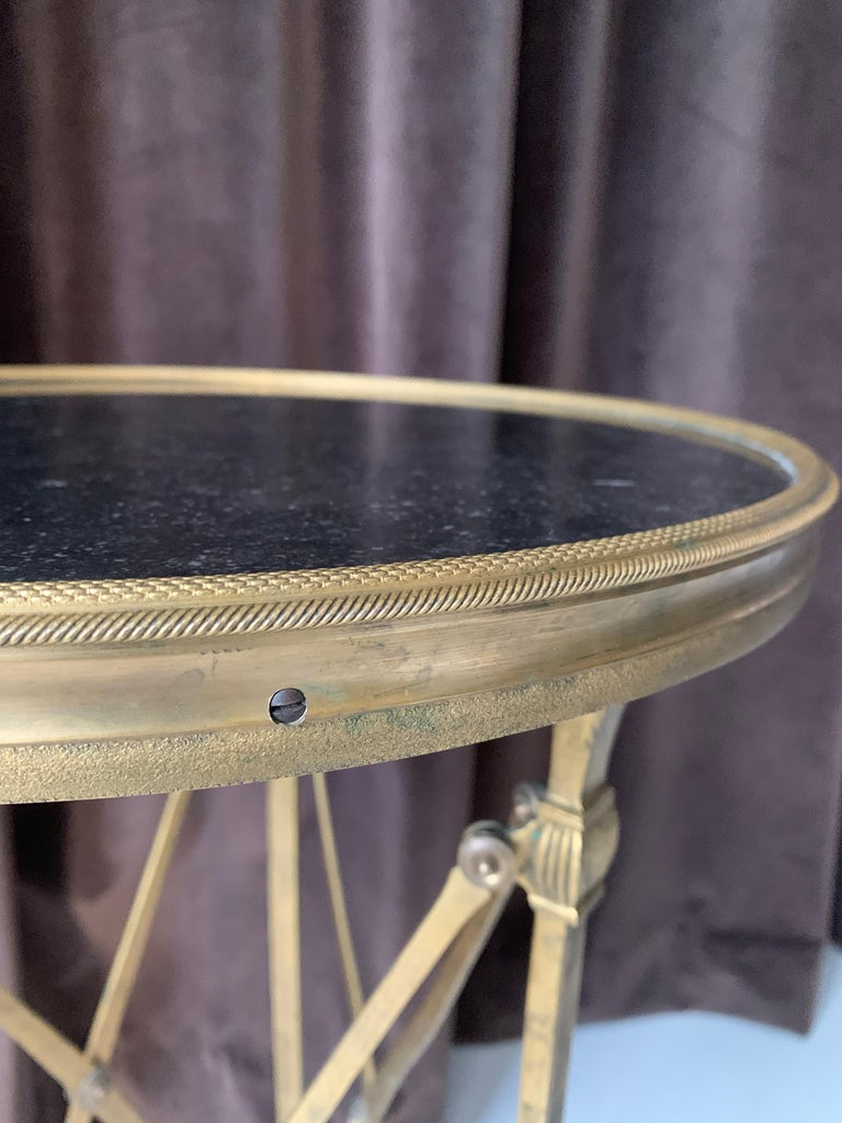 European Brass and Stone Neoclassical Guéridon Style Side Table For Sale