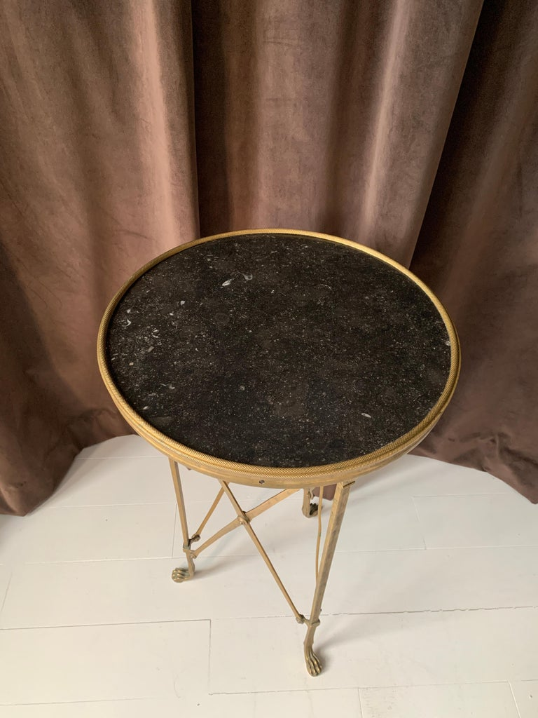 Brass and Stone Neoclassical Guéridon Style Side Table For Sale 2