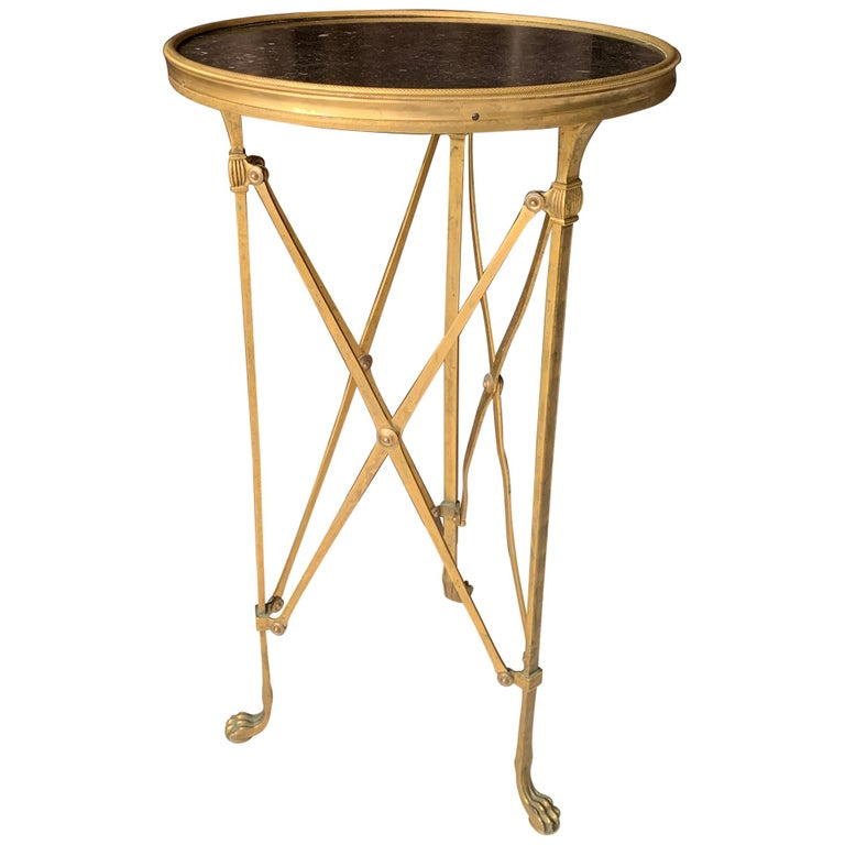 Brass and Stone Neoclassical Guéridon Style Side Table For Sale