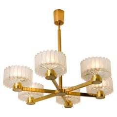 Brass and Structured Opaque and Clear Glass Chandelier, 1960s