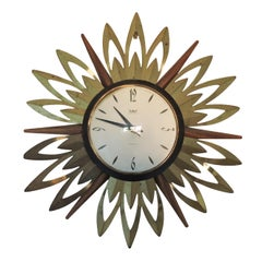 Brass and Teak Sunburst Wall Clock from Smiths Astral, 1960s